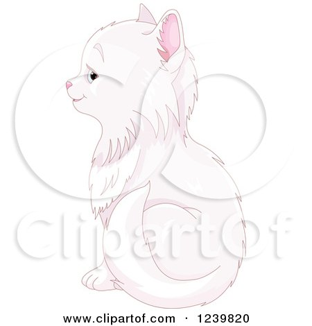 Clipart of a Cute Long Haired White Cat Sitting, in Profile - Royalty Free Vector Illustration by Pushkin