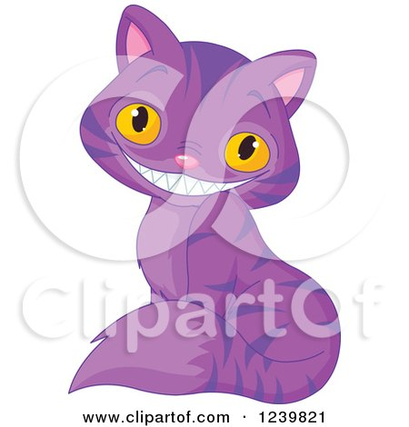 Clipart of a Sitting Purple Striped Grinning Cheshire Cat - Royalty Free Vector Illustration by Pushkin