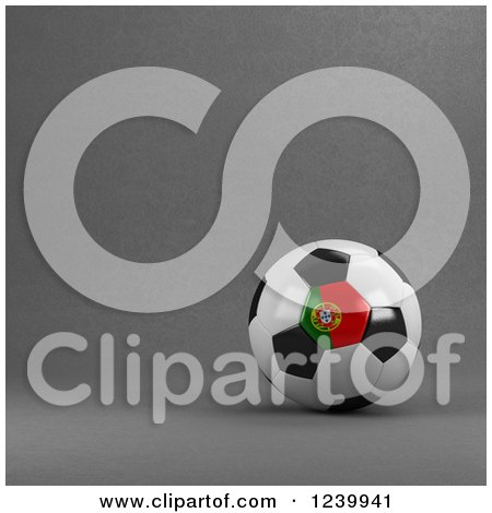Clipart of a 3d Portuguese Soccer Ball over Gray - Royalty Free Illustration by stockillustrations