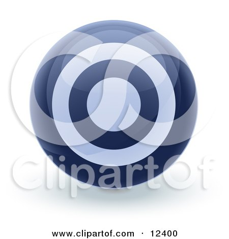 Blue Bullseye Target Circle Icon Internet Button Clipart Illustration by Leo Blanchette