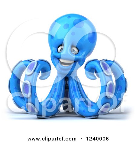 Clipart of a 3d Happy Blue Octopus - Royalty Free Illustration by Julos