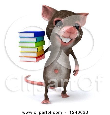 Clipart of a 3d Happy Mouse Holding a Stack of Books - Royalty Free Illustration by Julos