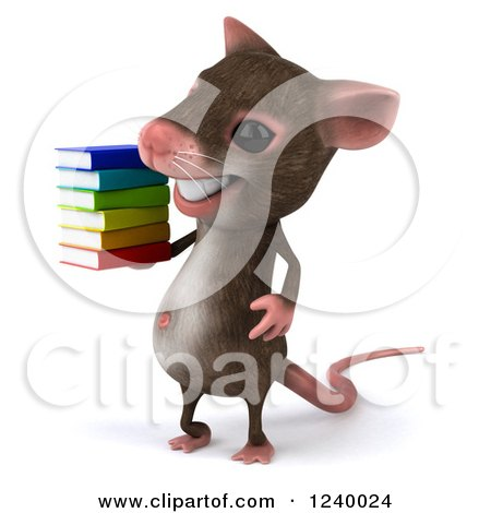 Clipart of a 3d Happy Mouse Holding a Stack of Books 2 - Royalty Free Illustration by Julos