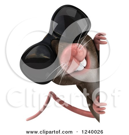 Clipart of a 3d Happy Mouse Wearing Sunglasses and Looking Around a Sign - Royalty Free Illustration by Julos