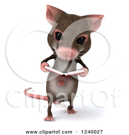 Clipart of a 3d Happy Mouse Walking and Reading a Book - Royalty Free Illustration by Julos