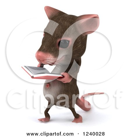 Clipart of a 3d Happy Mouse Walking and Reading a Book 2 - Royalty Free Illustration by Julos