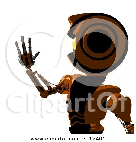 Clipart Illustration of a Futuristic Humanlike Robot Holding up His Hand by Leo Blanchette
