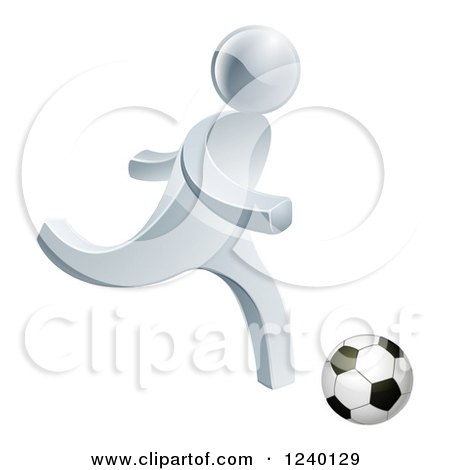 Clipart of a 3d Silver Man Playing Soccer - Royalty Free Vector Illustration by AtStockIllustration