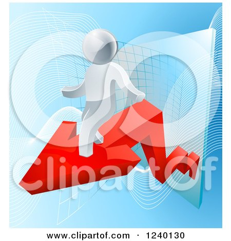 3d Successful Silver Businessman Riding a Red Arrow off of a Chart Posters, Art Prints