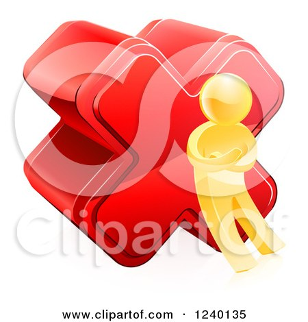 Clipart of a 3d Gold Man with a Red Cross X Mark - Royalty Free Vector Illustration by AtStockIllustration