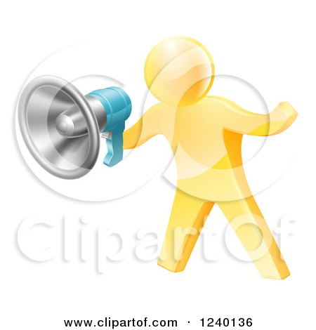 Clipart of a 3d Gold Man Announcing with a Megaphone - Royalty Free Vector Illustration by AtStockIllustration