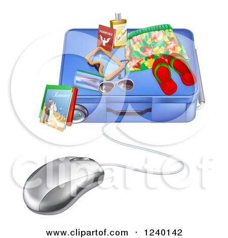 Clipart of a 3d Computer Mouse Wired to a Travel Suitcase - Royalty Free Vector Illustration by AtStockIllustration