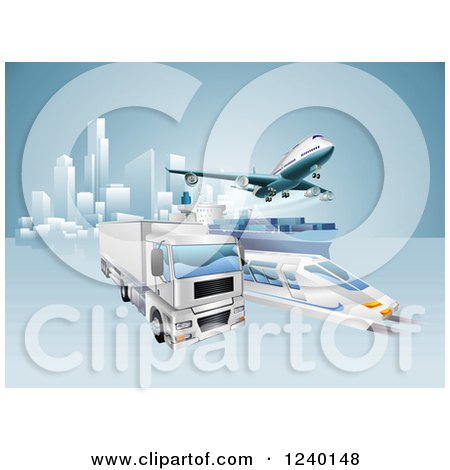 Clipart of a 3d Big Rig Truck Cargo Ship Train and Airplane Leaving a City - Royalty Free Vector Illustration by AtStockIllustration