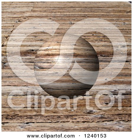 Clipart of a 3d Wood Globe over Grain - Royalty Free Illustration by oboy