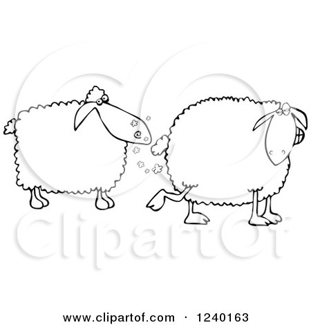 Clipart of a Black and White Sheep Farting in Another's Face - Royalty Free Vector Illustration by djart
