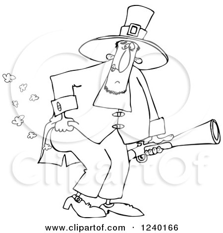 Clipart of a Black and White Male Pilgrim Holding a Blunderbuss and Farting - Royalty Free Vector Illustration by djart