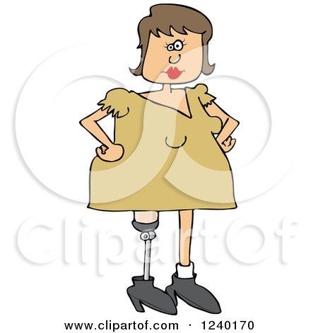 Clipart of a Caucasian Woman with an Artificial Prosthetic Leg - Royalty Free Vector Illustration by djart
