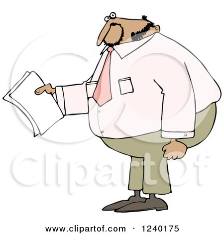 Clipart of a Black Business Man Holding Papers and Wearing a Pink Shirt - Royalty Free Vector Illustration by djart