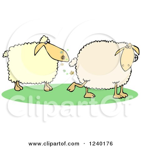 Clipart of a Sheep Farting in Another's Face - Royalty Free Vector Illustration by djart