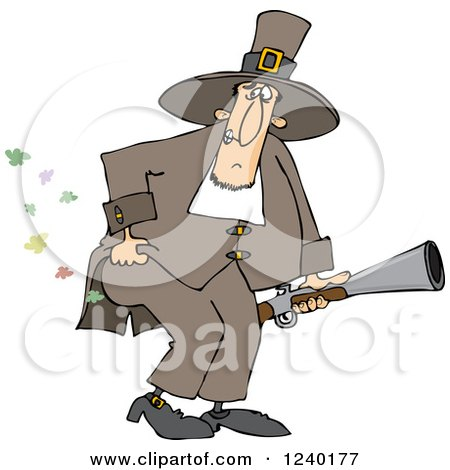 Clipart of a Male Pilgrim Holding a Blunderbuss and Farting - Royalty Free Vector Illustration by djart