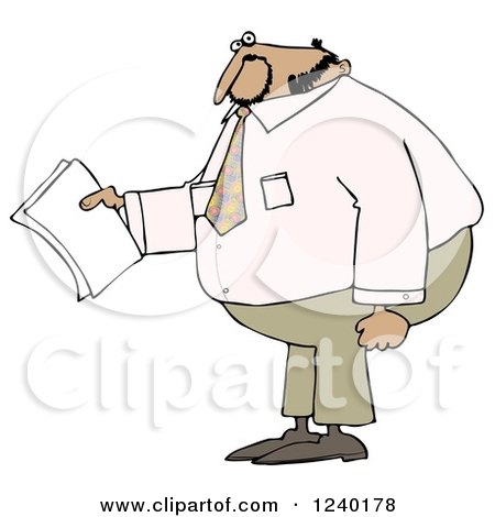 Clipart of a Black Businessman Holding Papers and Wearing a Pink Shirt - Royalty Free Illustration by djart