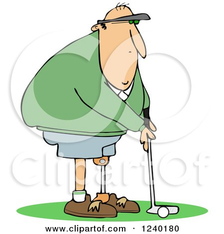 Clipart Of A Golfing Caucasian Man With An Artificial Prosthetic Leg Royalty Free Vector Illustration