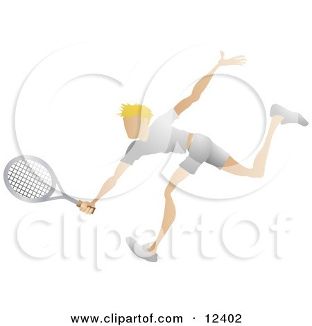 Blond Male Tennis Player Reaching His Racket Out to Hit a Ball Sports Clipart Illustration by AtStockIllustration