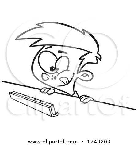 Clipart of a Black and White Thinking Boy Playing a Game of Scrabble - Royalty Free Vector Illustration by toonaday