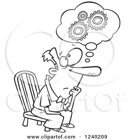 Clipart of a Black and White Gear Head Man Sitting and Thinking - Royalty Free Vector Illustration by toonaday