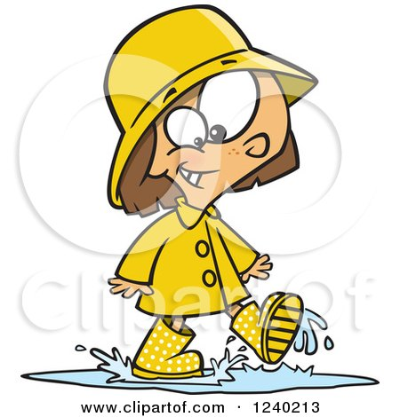 Clipart of a Happy Caucasian Girl Walking Through a Puddle - Royalty Free Vector Illustration by toonaday