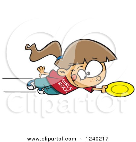 Clipart of a Caucasian Girl Jumping and Catching a Frisbee - Royalty Free Vector Illustration by toonaday