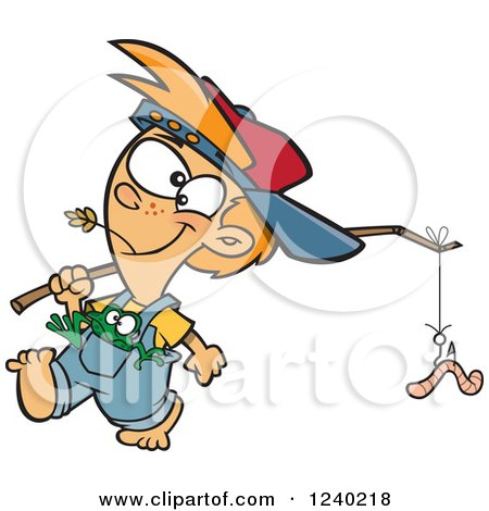 Clipart of a Caucasian Country Boy Carrying a Worm on a Stick and a Frog in His Pocket - Royalty Free Vector Illustration by toonaday