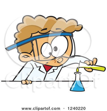 Clipart of a Caucasian Boy Scientist Pouring Chemicals into a Beaker - Royalty Free Vector Illustration by toonaday
