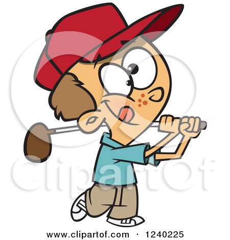 Clipart Of A Caucasian Boy Swinging A Golf Club Royalty Free Vector Illustration
