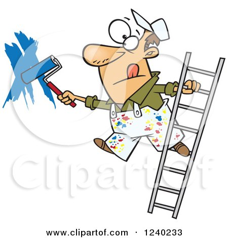 Caucasian Man Painting a Wall and Leaning off of a Ladder Posters, Art Prints