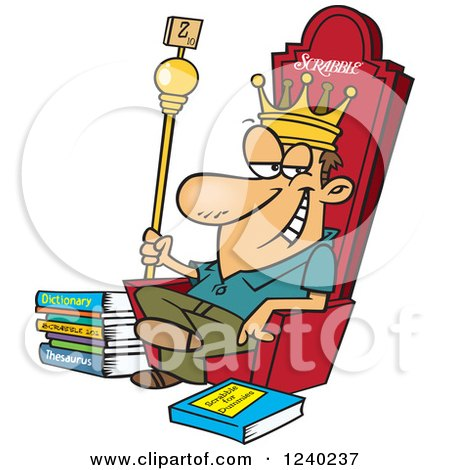 Clipart of a Caucasian Scrabble King Sitting on His Throne - Royalty Free Vector Illustration by toonaday