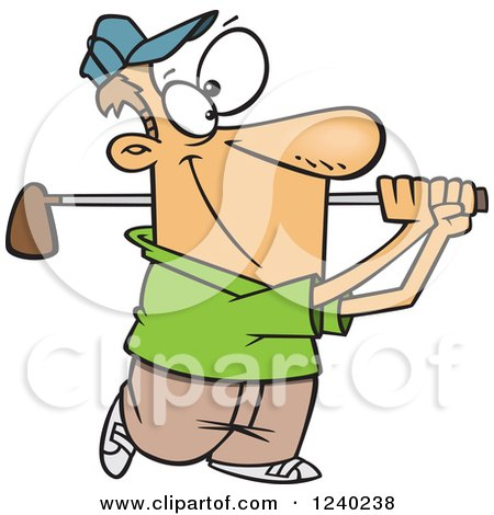 Clipart Of A Happy Caucasian Man Swinging A Golf Club Royalty Free Vector Illustration