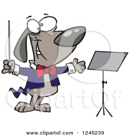 Clipart of a Music Conductor Dog by a Stand - Royalty Free Vector Illustration by toonaday