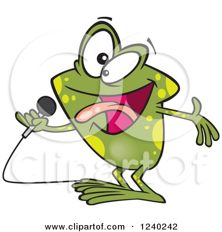 Clipart of a Karaoke Frog Singing - Royalty Free Vector Illustration by toonaday
