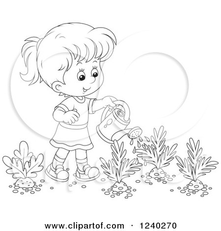 Happy Black and White Girl Watering a Carrot Garden Posters, Art Prints