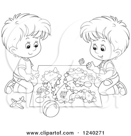 Clipart of Black and White Boys Playing a Board Game ...