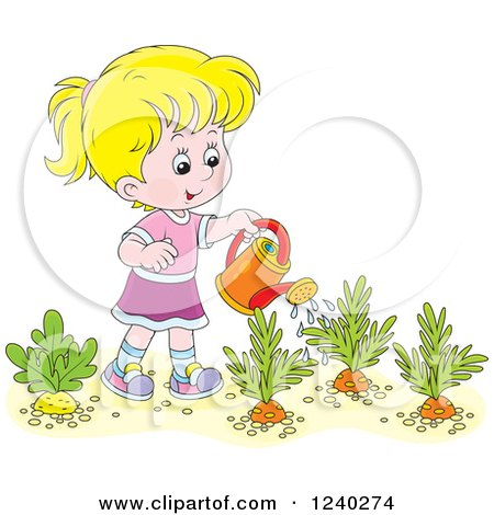 Clipart of a Happy Blond Girl Watering a Carrot Garden - Royalty Free Vector Illustration by Alex Bannykh