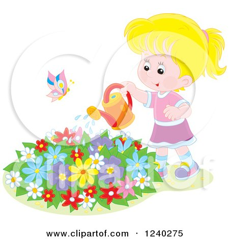 Clipart of a Happy Blond Caucasian Girl Watering a Garden - Royalty Free Vector Illustration by Alex Bannykh