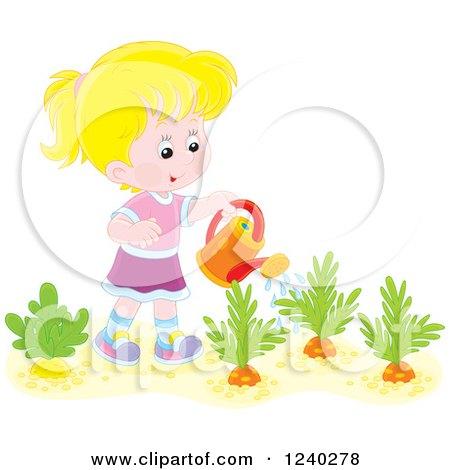 Happy Blond Caucasian Girl Watering a Carrot Garden Posters, Art Prints