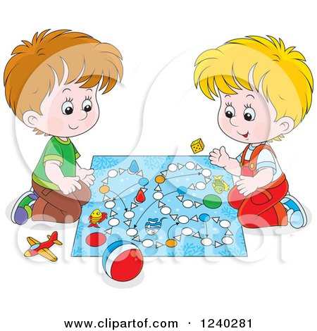 Clipart of Happy Caucasian Boys Playing a Board Game - Royalty Free Vector Illustration by Alex Bannykh