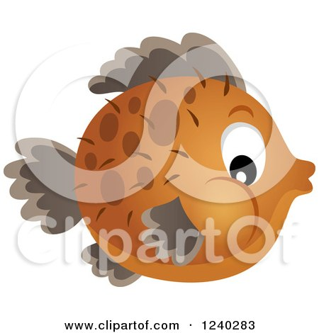 Clipart of a Brown Blowfish - Royalty Free Vector Illustration by visekart