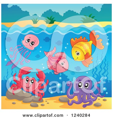 Clipart of Happy Sea Creatures Under the Surface of Water - Royalty Free Vector Illustration by visekart