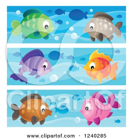 Clipart of Borders of Happy Fish - Royalty Free Vector Illustration by visekart