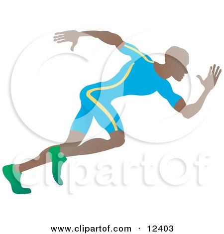 African American Sprinter Man Running During a Race Posters, Art Prints