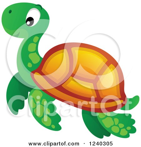 Clipart of a Cute Happy Sea Turtle - Royalty Free Vector Illustration by visekart